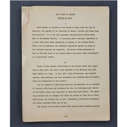 "Original Pearl Harbor Navy Court of Inquiry ""Finding of Facts"" Official Document"