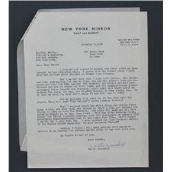 Walter Winchell Letter Signed on New York Mirror Letterhead; One Page, November 2, 1956