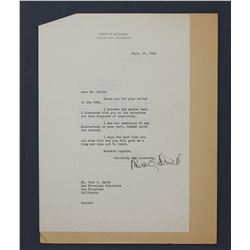 "David O. Selznick Letter Signed ""David O. Selznick"". One page, 10 1/2"" x 7 1/4""; Sept. 25, 1946"