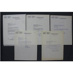 Five Typed Letters Signed by United States Senators; June - December 1955