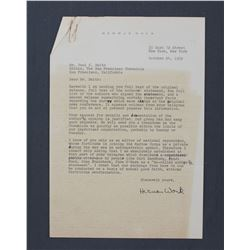 "Herman Wouk Letter Signed ""Herman Wouk"". One page, 10 1/4"" x 7 1/4""; October 24, 1952"