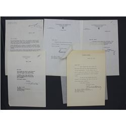 Lot of Five Letters incl. Signed Thomas E. Dewey, Harlow H. Curtice, Katharine Cornell etc.