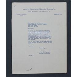 "Leonard H. Goldenson Letter Signed ""Leonard"" as ABC President. One page 11"" x 8 1/2""; April 25, 1956"