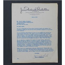 Lot of Letters incl. Signed Jerry Fairbanks, Jerry Wald, Paul Raibourn, George W. Healy Jr., etc.