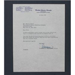 """Warren G. Magnuson Letter Signed as U.S. Senator. One page; 10 1/2"""" x 8"""" June 22, 1955"""