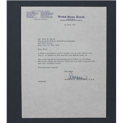 "Warren G. Magnuson Letter Signed as U.S. Senator. One page; 10 1/2"" x 8"" June 22, 1955"