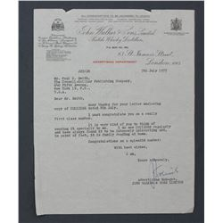 John Walker & Sons Typed Letter on Official Letterhead, Advertising Department; to P.C. Smith 1955