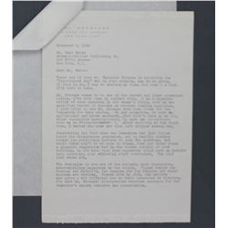 "Mimi Sheraton Letter Signed on Personal Letterhead. Two Pages, 10 1/4"" x 7 1/4""; November 3, 1956"
