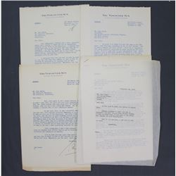 """Four Sam Cromie Letters Signed """"Sam"""" as Vancouver Sun Vice-President/Publisher; 1952-1956"""