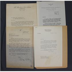 Lot of Letters incl. Signed Amadeo P. Giannini, Leslie A. Nichols Jr., Peter Whitney, etc.