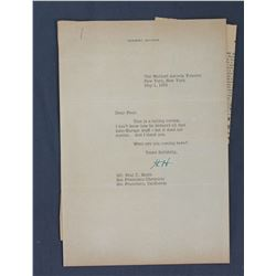 "Herbert Hoover Letter Signed ""H.H."" as Former President. One page, 10 1/2"" x 7 1/8""; May 1, 1952"
