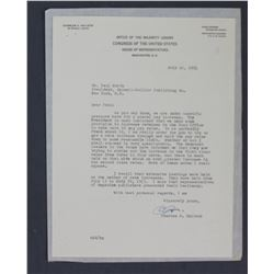 Charles A. Halleck Letter Signed as Office of the Majority Leader. One page; July 16, 1954