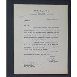 G. Frederick Reinhardt Handwritten Letter as Ambassador to the Soviet Union. One page; Dec. 9, 1946
