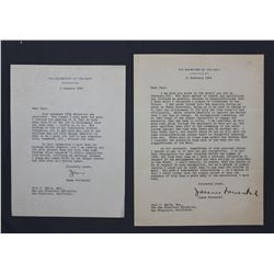 Two James Forrestal Letters Signed as Secretary of the Navy; 9 Jan. and 13 Feb. 1946