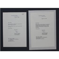 Two James C. Hagerty Letters Signed as Press Secretary to the President; April 18 and Aug. 14, 1956.