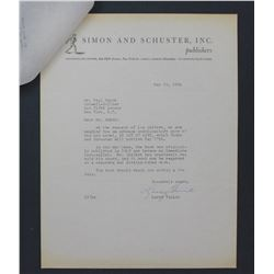 """Larry Vinick Letter on Simon and Schuster Letterhead. One page, 11"""" x 8 1/2""""; May 10, 1954"""