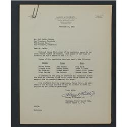 """Harvey H. Shields Letter Signed . One page, 8 1/8"""" x 6 1/8""""; January 7, 1955"""