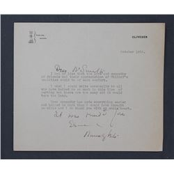 Nancy Witcher Langhorne Astor Letter Signed as Viscountess Astor. One page ; October 1952.