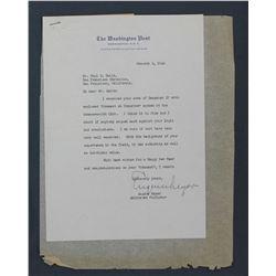"Eugene Meyer Letter Signed as Washington Post Editor. One page, 9 5/8"" x 6 7/8""; January 2, 1946"