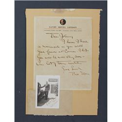 "Bill Tilden Handwritten Letter on Savoy Hotel Letterhead. One page, 7 7/8"" x 6 1/8""; With Photograph"
