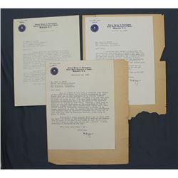 "Three J. Edgar Hoover Letters, ""Edgar"" as FBI Director, ea. One page, 9 1/4"" x 7""; Jan. - Oct. 1946"