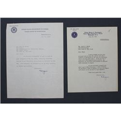 "Two J. Edgar Hoover Letters Signed ""Edgar"" as FBI Director, ea. One Page; June 1953 and May 1954"