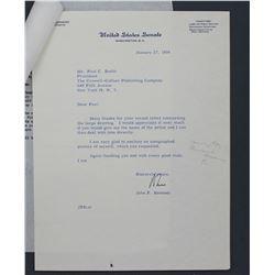 "John F. Kennedy Letter Signed ""John"" as U.S. Senator. One page, 10 1/2"" x 8""; January 27, 1956"