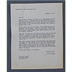 "Frank Stanton Letter Signed ""Frank"" as CBS President. One page, 10"" x 8""; December 20, 1956"