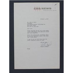 """Walter Cronkite Letter Signed as CBS Anchor/Host. One page, 10 1/2"""" x 7 1/4""""; October 5, 1956"""