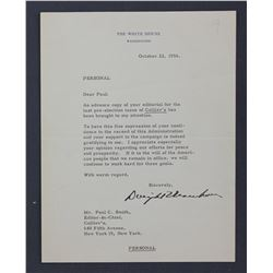 """Dwight D. Eisenhower Letter Signed as President. One page, 8 7/8"""" x 6 7/8""""; October 22, 1956"""
