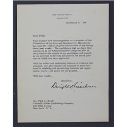 """Dwight D. Eisenhower Letter Signed as President. One page, 8 7/8"""" x 6 7/8""""; November 9, 1956"""