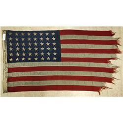 "American Flag 48 Stars, 26"" x 50"", Wool. ""U.S. Ensign No. 11 Mare Island Apr. 1XXX"" (1941-1943)"