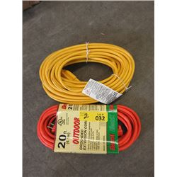 2 New Extension Cords  - 20 Foot & 50 Foot