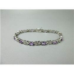 Amethyst & Diamond Tennis Bracelet