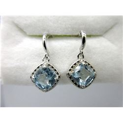 New Blue Topaz & Diamond Dangle Earrings