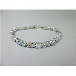 Diamond & Blue Topaz Tennis Bracelet