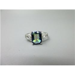 Ocean Blue Mystic Topaz & Diamond Ring