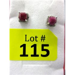 New Ruby & Diamond Sterling Silver Stud Earrings