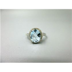Baby Blue Topaz & Diamond Solitaire Ring