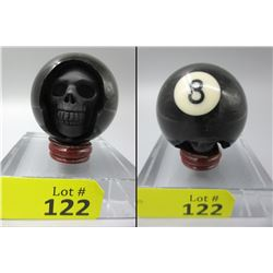 New Billiard Black 8 Ball Carved Skull