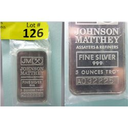 5 Oz. Johnson Matthey .999 Fine Silver Bar