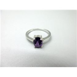 Sterling Silver Amethyst Solitaire Ring
