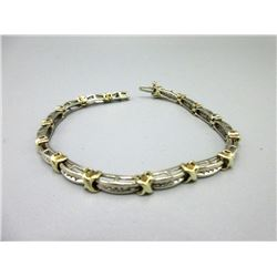 10KT White & Yellow Gold Diamond Tennis Bracelet