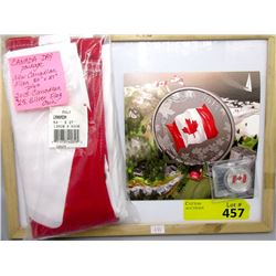 New Canadian Flag and 2015 Silver 25¢ Flag Coin