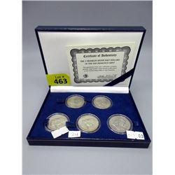5 Franklin 90% Silver Half Dollars