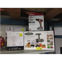 Cordless Drill, Juice Extractor & 2 Fans