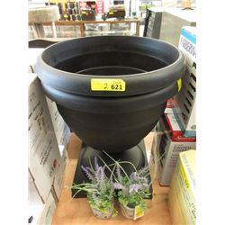Resin Patio Planter & 2 Faux Lavender Plants