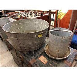 Large Galvanized Tub & Planter