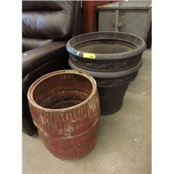 1 Metal & 2 Resin Planters