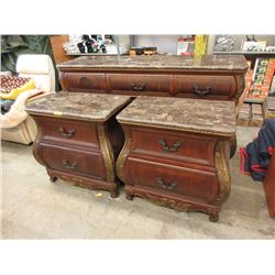 3 Piece Marble Topped Bedroom Set